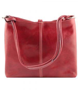 bolso de piel rojo mujer moda