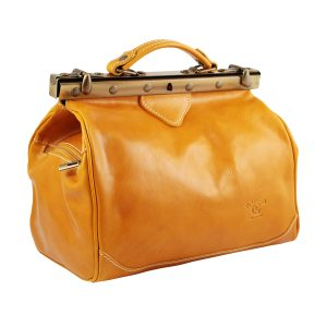 bolso en piel de mujer italianos amarillo lateral