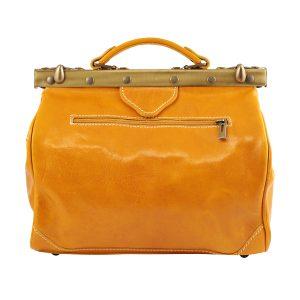 bolso en piel de mujer italianos amarillo trasera