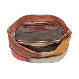 bolso en piel mujer color salmon interior