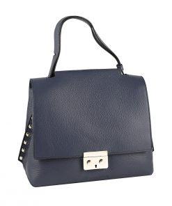 bolso mujer en piel azul marino
