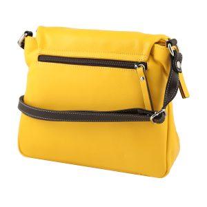bolso shopper piel de mujer amarillo lateral