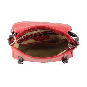 bolso shopper piel de mujer rojo interior