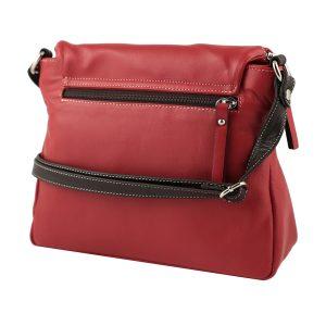bolso shopper piel de mujer rojo lateral