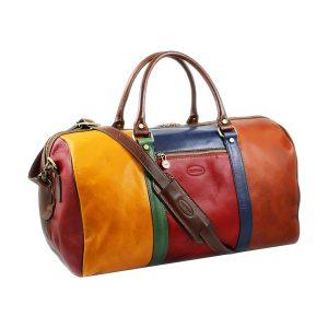 bolso viaje en piel correas multicolor