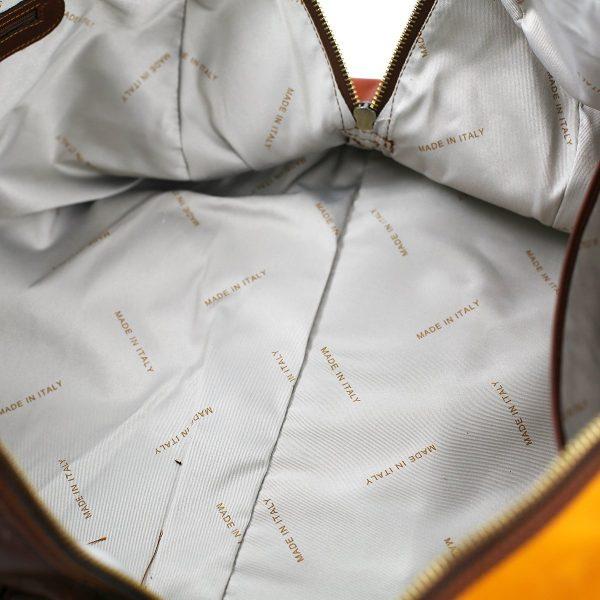 bolso viaje en piel interior algodón