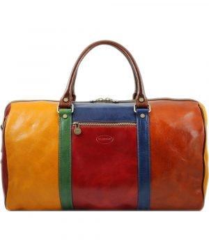 bolso viaje en piel multicolor