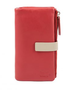 cartera de mujer piel italiana rojo