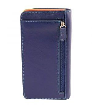 cartera mujer piel con monedero azul marino cremallera