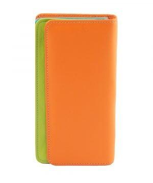 cartera mujer piel con monedero naranja