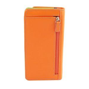 cartera mujer piel con monedero naranja cremallera trasera