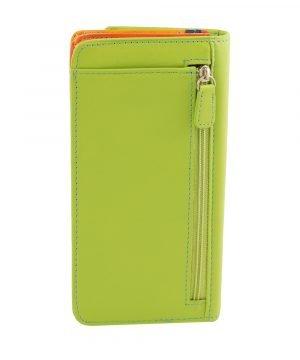 cartera mujer piel con monedero verde cremallera trasera