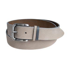 cinturon cuero hombre gris