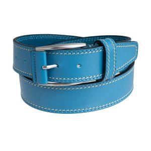 cinturon cuero hombre piel azul celeste moda