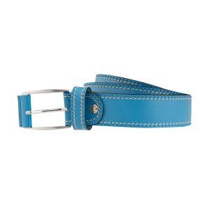 cinturon cuero hombre piel azul turquesa moda