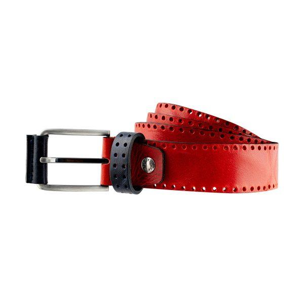 cinturon de cuero rojo