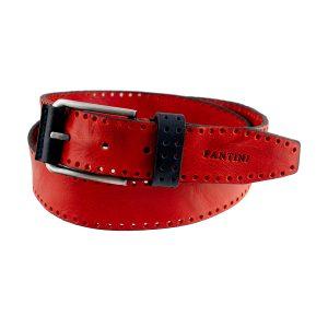 cinturon de cuero para mujer hombre roja