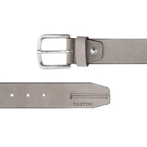 cinturon unisex cuero gris cierre hebilla