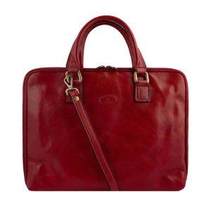 Maletin para Portatil vintage cuero Rojo
