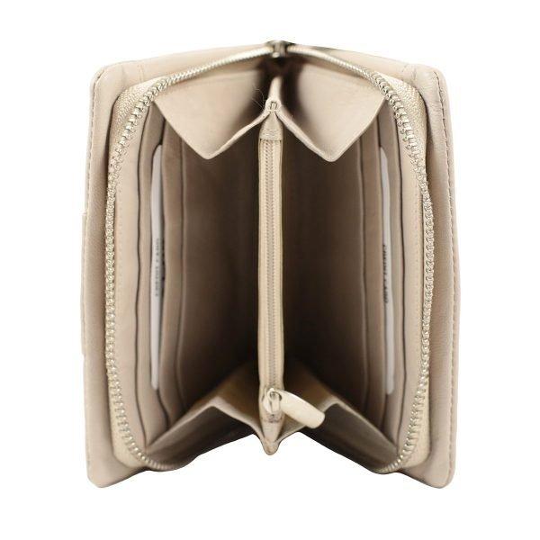 monedero de cuero diseño italiano mujer beige interior