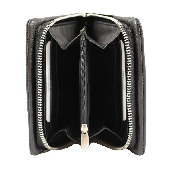 monedero de cuero diseño italiano mujer negro interior
