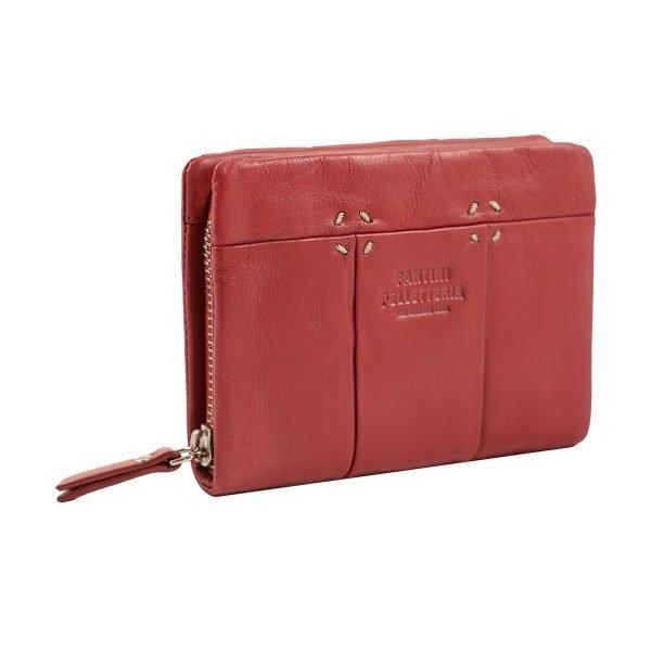 monedero de cuero diseño italiano mujer rojo lateral