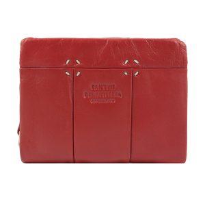 monedero de cuero diseño italiano mujer rojo