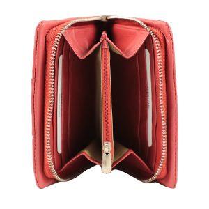 monedero de cuero diseño italiano mujer rojo interior