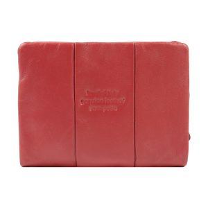 monedero de cuero diseño italiano mujer rojo trasera