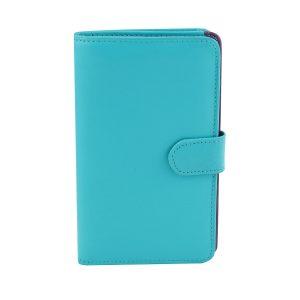 billetera de cuero mujer azul celeste fantini pelletteria