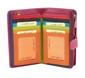 billetera de cuero mujer magenta rosa