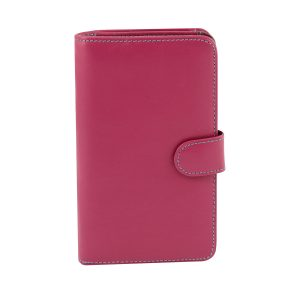 billetera de cuero mujer magenta rosa fantini pelletteria