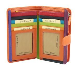 billetera de cuero mujer naranja