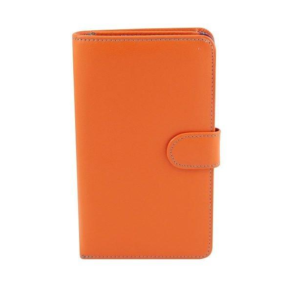 billetera de cuero mujer naranja fantini pelletteria