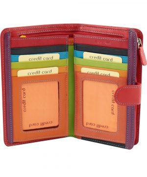 billetera de cuero mujer roja