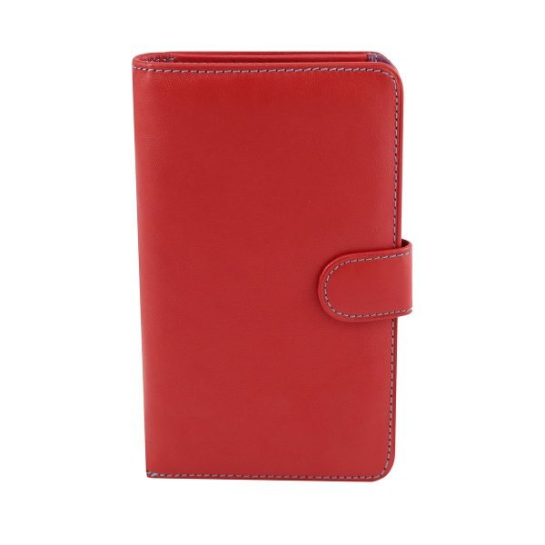 billetera de cuero mujer roja fantini pelletteria