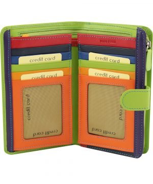 billetera de cuero mujer verde