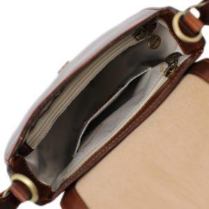 bolso de mano bandolera mujer piel marrón interior bolso