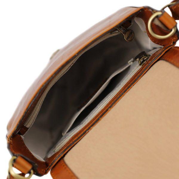 bolso de mano bandolera mujer piel miel interior bolso
