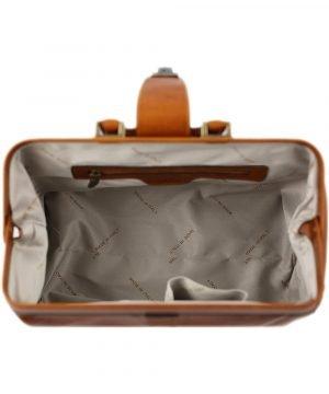 maletin doctor en piel miel interior maletin