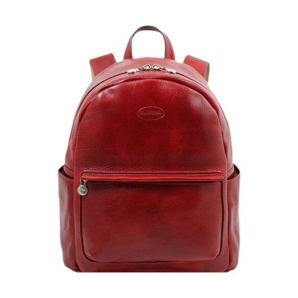 mochila de ciudad vintage piel rojo