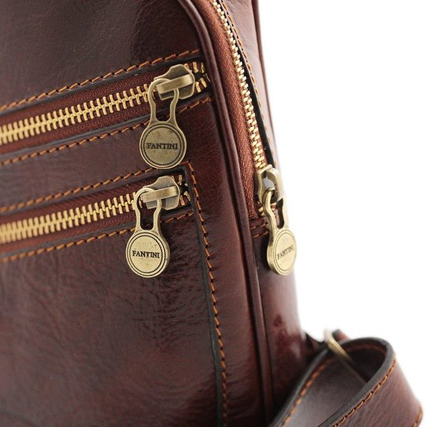 bandolera cuero hombre marrón bolsillo exteriores