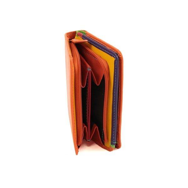 billetero piel mujer naranja monedero en cuero