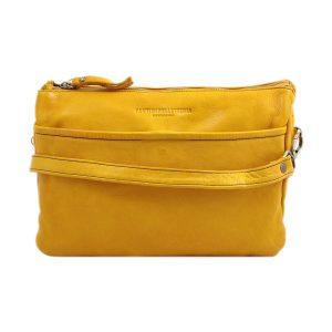 bolso cuero lavado vintage mujer amarillo