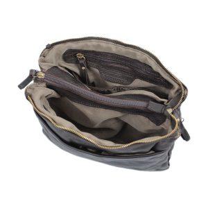 bolso cuero lavado vintage mujer marrón interior
