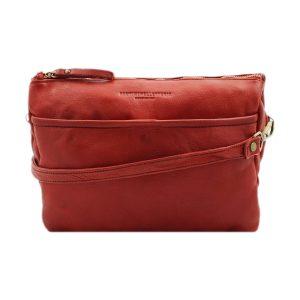 bolso cuero lavado vintage mujer rojo