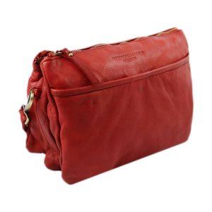 bolso cuero lavado vintage mujer rojo fantini