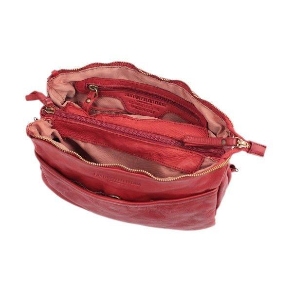 bolso cuero lavado vintage mujer rojo interior