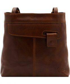 bolso mochila en cuero italiano marrón
