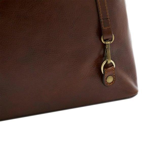 bolso mochila en cuero italiano marrón fantini pelletteria